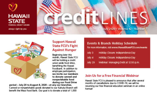 Image of the July 2020 CreditLines Newsletter Masthead