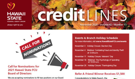 Image of the November 2020 CreditLines Newsletter Masthead