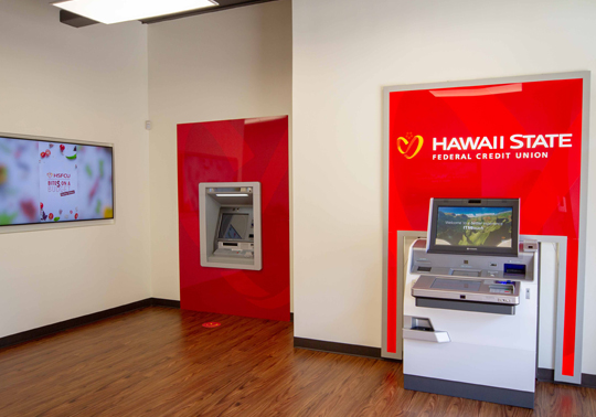 Photo of the ATM and ITM machines inside the Queen Street Branch