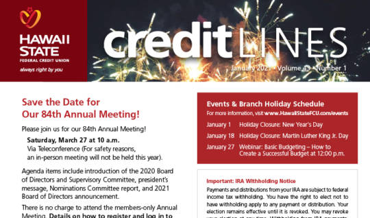 Image of the January 2021 CreditLines Newsletter Masthead