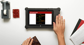 Image featuring our Palm Vein Scanner. The newest technology to keep your accounts safe.