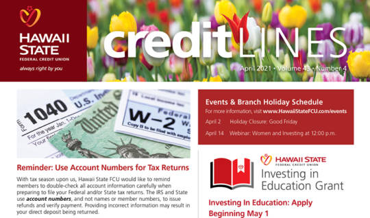 Image of the April 2021 CreditLines Newsletter Masthead