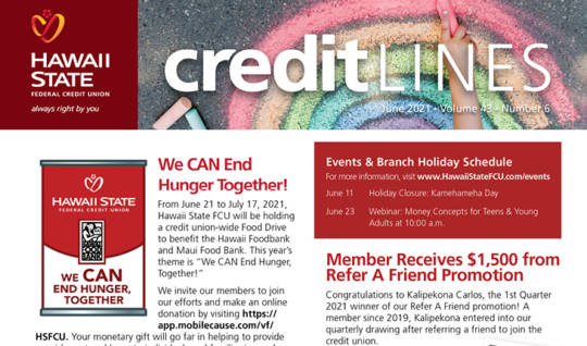 Image of the June 2021 CreditLines Newsletter Masthead