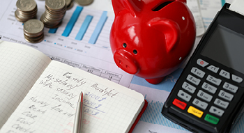 Photo of a red piggy bank next to a listing of the family budget.