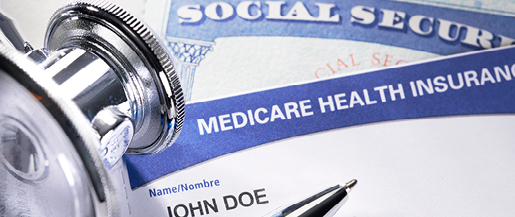 Photo of a social security card and medicare card.