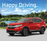 Happy Driving, Red SUV infront of a lake