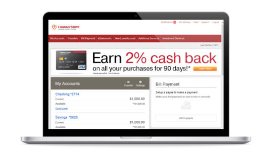 Laptop with Online Banking screen