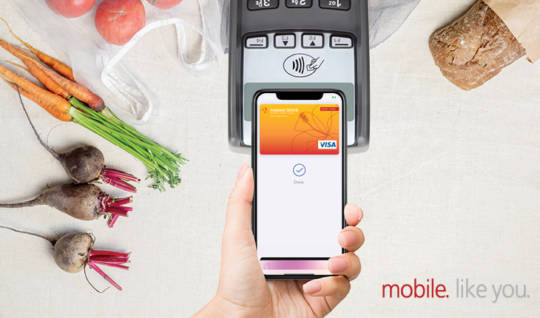 Graphic showing debit card loaded into a digital wallet on a smartphone tapping and paying at checkout.