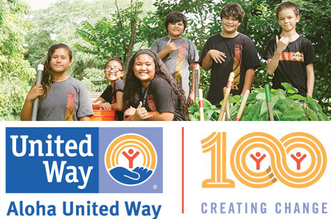 Photo of kids helping the community, the Aloha United Way logo and their 100 Creating Change logo