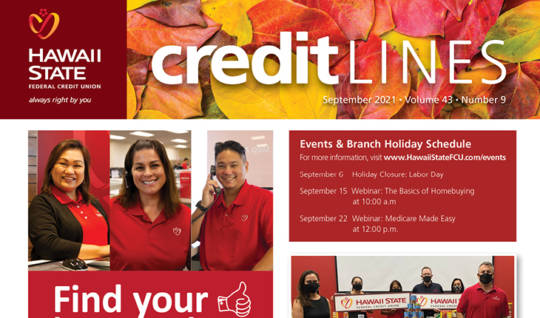 Image of the September 2021 CreditLines Newsletter Masthead